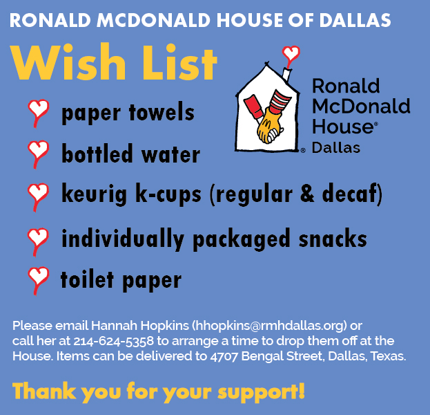 Wish list ronald mcdonald house of dallas for Home wish list